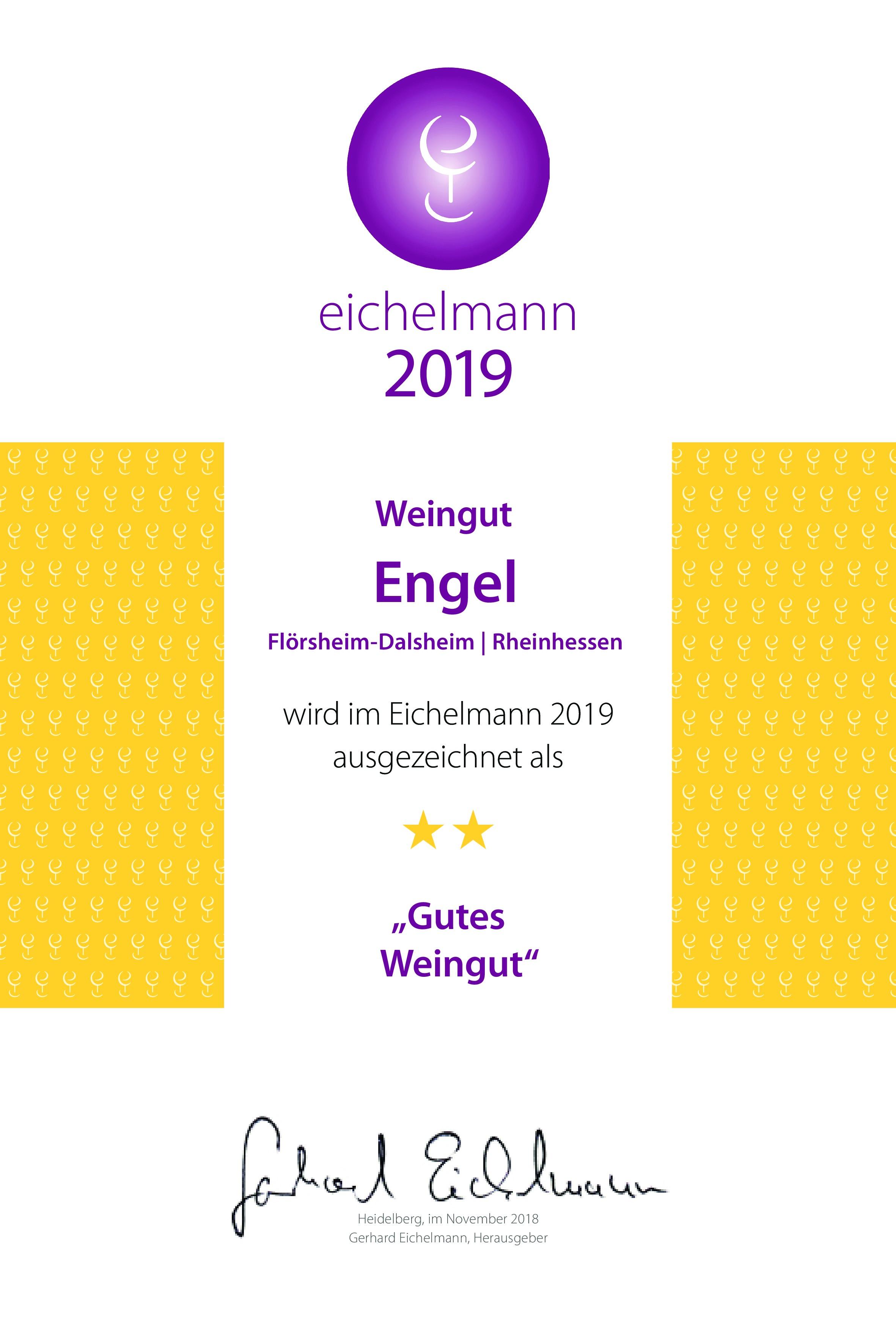 Erstmals ausgezeichnet bei Eichelmann 2019 Deutschlands Weine