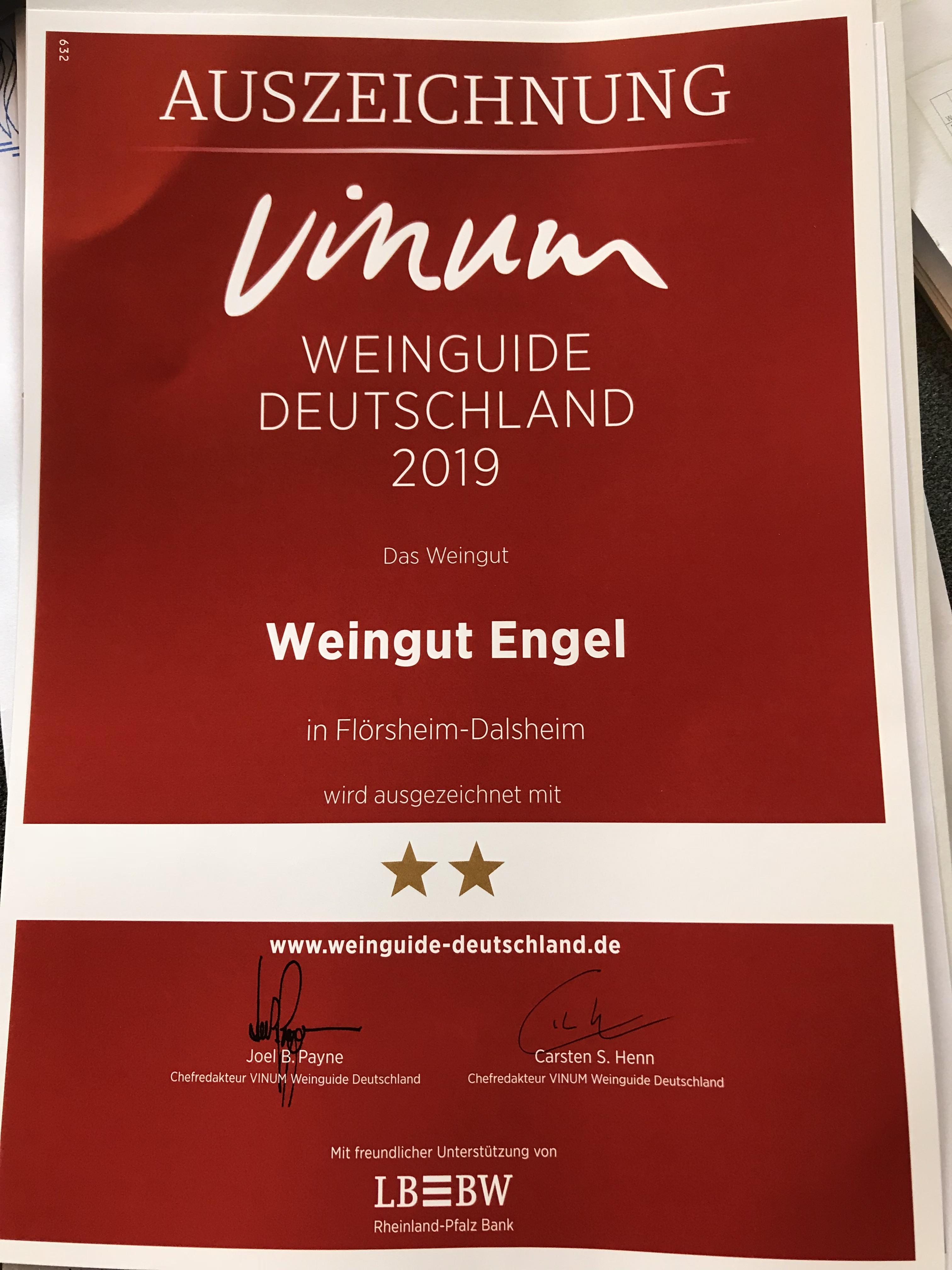Vinum – Europas Weinemagazin  – 2 Sternen für unsere Weine